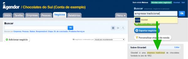 Campo de busca do Agendor: procura por informações localizadas na descrição do cliente